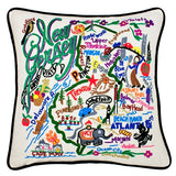 State of New Jersey Hand-Embroidered Pillow