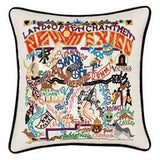 State of New Mexico Hand-Embroidered Pillow