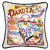 State of North Dakota Hand-Embroidered Pillow