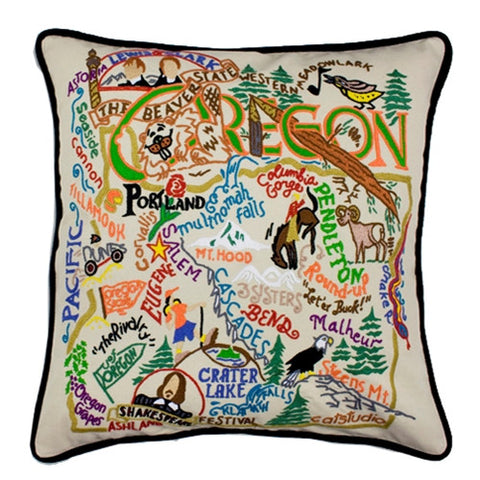 State of Oregon Hand-Embroidered Pillow