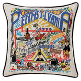 State of Pennsylvania Hand-Embroidered Pillow