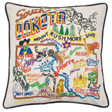 State of South Dakota Hand-Embroidered Pillow