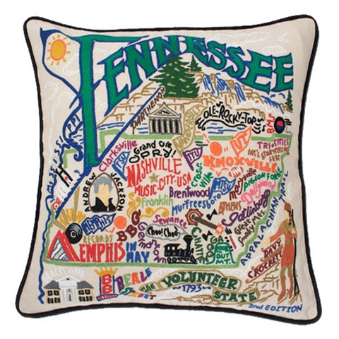 State of Tennessee Hand-Embroidered Pillow