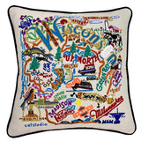 State of Wisconsin Hand-Embroidered Pillow