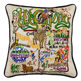 State of Wyoming Hand-Embroidered Pillow