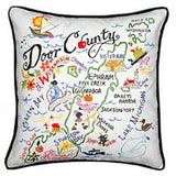Door County Hand-Embroidered Pillow