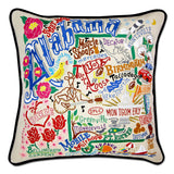 State of Alabama Hand-Embroidered Pillow