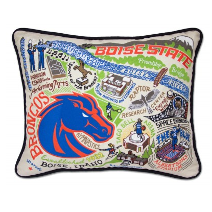 Boise State University Collegiate Embroidered Pillow