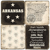Arkansas B&W Drink Coasters