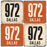 Dallas Area Code 972 Drink Coasters