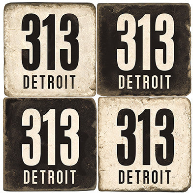 Detroit Area Code 313 Drink Coasters