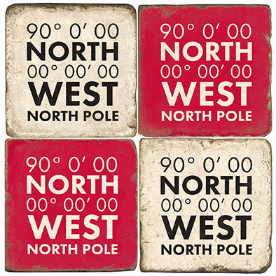 North Pole Coordinates Drink Coasters
