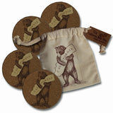 Bear Hugging California Cork Drink Coasters