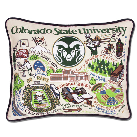 Colorado State University Collegiate Embroidered Pillow