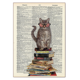 Cat Sitting On Books Wood Sign