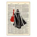 Darth Vader With Guitar Wood Sign