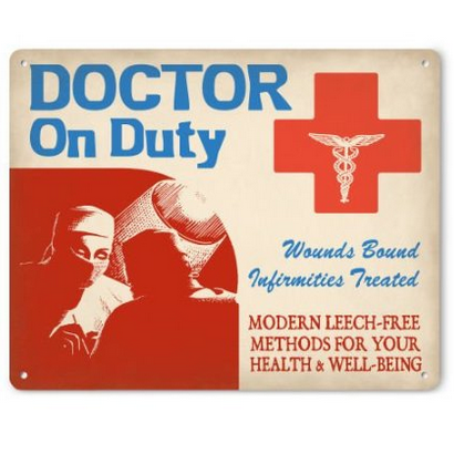 Doctor on Duty Metal Sign (female)