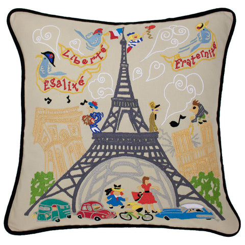 Eiffel Tower Hand-Embroidered Pillow