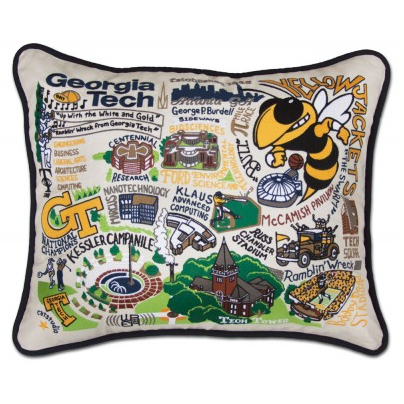 Georgia Tech Collegiate Embroidered Pillow