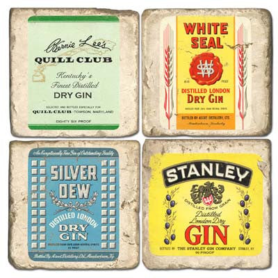 Gin Label Drink Coasters