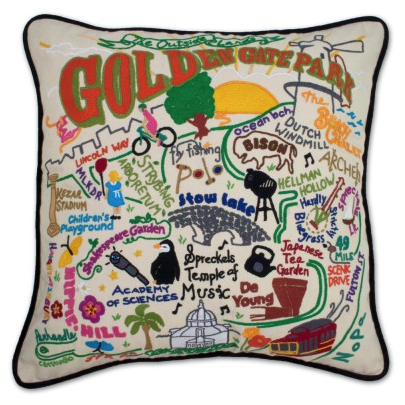 Golden Gate Park Hand-Embroidered Pillow