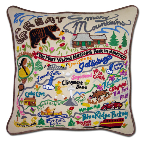 Great Smoky Mountains Hand-Embroidered Pillow