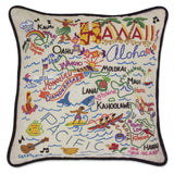 State of Hawaii Hand-Embroidered Pillow