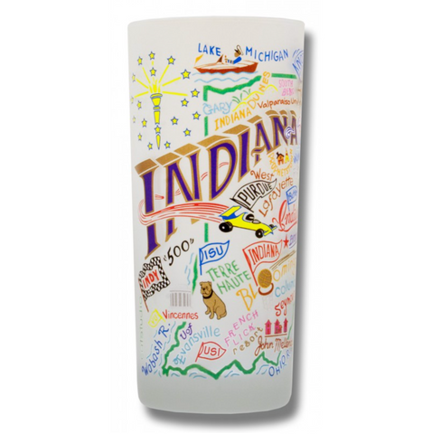 State of Indiana Frosted Glass Tumbler