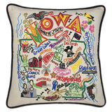 State of Iowa Hand-Embroidered Pillow