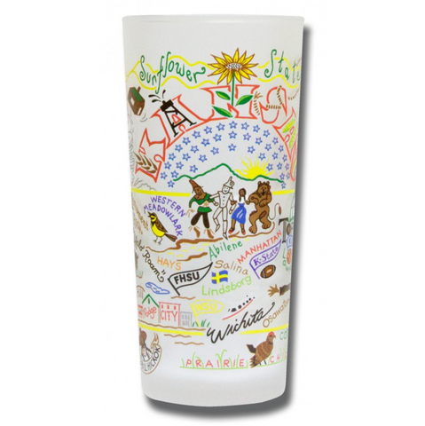 State of Kansas Frosted Glass Tumbler