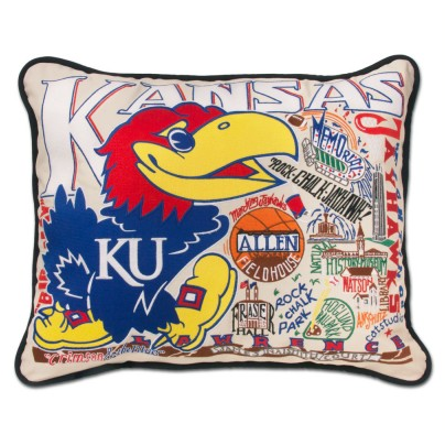 University of Kansas Collegiate Embroidered Pillow