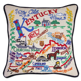 State of Kentucky Hand-Embroidered Pillow