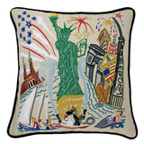 Lady Liberty Hand-Embroidered Pillow