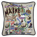 State of Maine Hand-Embroidered Pillow