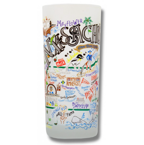 State of Massachusetts Frosted Glass Tumbler