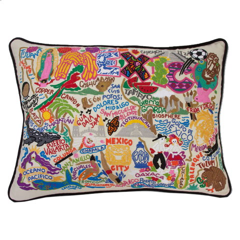 Mexico Hand-Embroidered Pillow