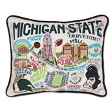 Michigan State Collegiate Embroidered Pillow
