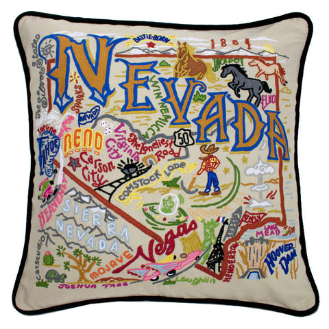 State of Nevada Hand-Embroidered Pillow