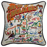 New England Hand-Embroidered Pillow