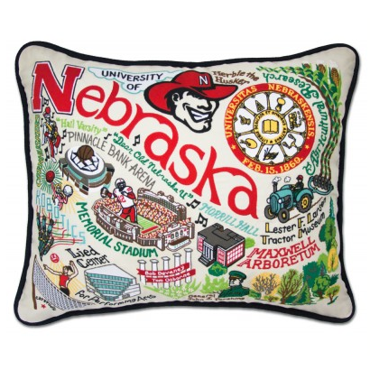 University of Nebraska Collegiate Embroidered Pillow