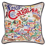 State of North Carolina Hand-Embroidered Pillow