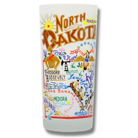 State of North Dakota Frosted Glass Tumbler
