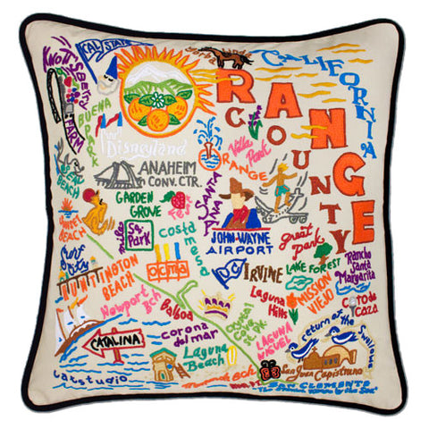 Orange County Hand-Embroidered Pillow