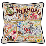 State of Oklahoma Hand-Embroidered Pillow