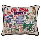 University of Mississippi (OLE Miss) Collegiate Embrodered Pillow