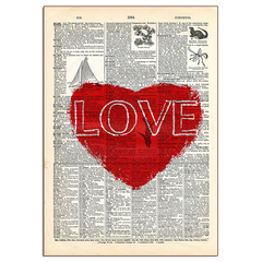 Red Love Heart Wood Sign