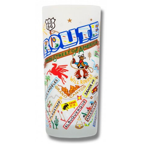 Route 66 Frosted Glass Tumbler