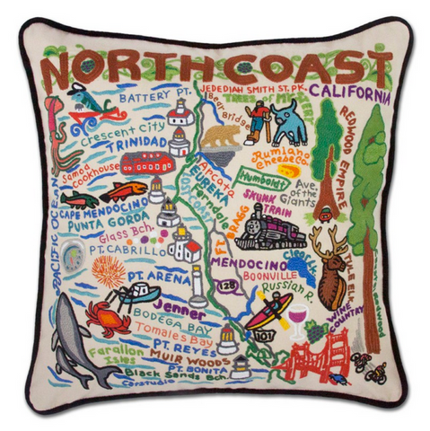North Coast Hand-Embroidered Pillow