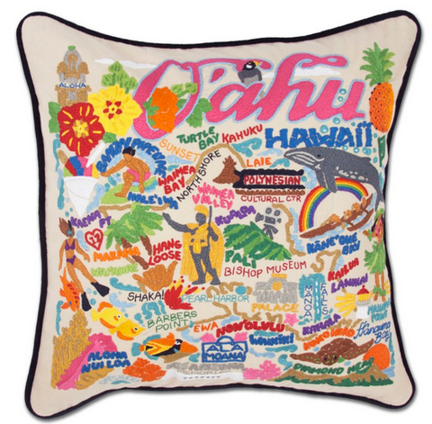 Oahu Hand-Embroidered Pillow
