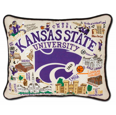 Kansas State University Collegiate Embroidered Pillow